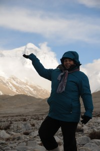 Val Gee Smiling at Base Camp Mount Everest